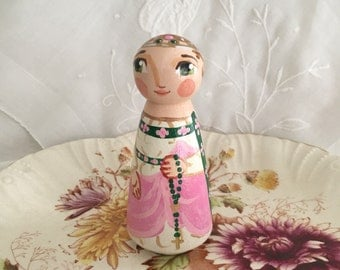 St. Isabella or Isabel of France Catholic Saint Doll - Wooden Toy - Made to Order
