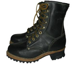 Georgia Logger Boot Vintage Mens Black Oil Tan Leather Grunge Work Boots with Lug Soles  Mens US Size 7 Will Fit a Womens  US Size 8 1/2