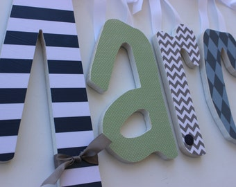 Wood Wall Letters, Navy, Grey and Light Green, Baby Boy Nursery, Custom Wood Letter, Chevron and Stripes, Argyle and Dots Hanging Name Sign