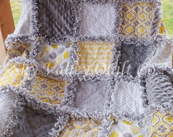 Pre Cut Rag Quilt KIT or Layer Cake -  SUMMER RAIN ~ yellow and gray cottons