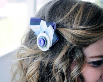 Purple Smoke Mother of Pearl Button and Tie Fascinator Hair Clip