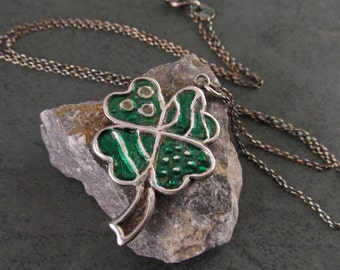 Shamrock pendant, handmade recycled fine silver 4 leaf clover necklace-OOAK Irish Luck
