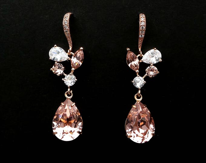 wedding jewelry bridesmaid gift party prom bridal swarovski teardrop vintage rose crystal earrings Clear white multi-shape vine cz rose gold