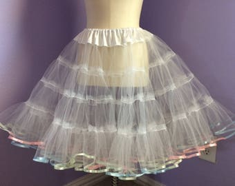 White tulle petticoat with pastel rainbow ribbon trim