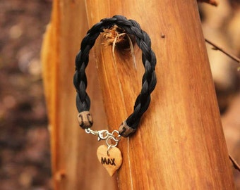 Unique Horsehair Bracelet *Personalized Wooden Heart Charm* Custom Made With Your Horse's Hair!