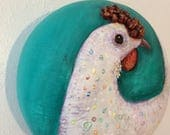Hen Art, Organic Chicken Art, Chicken Wall Art, Chicken Art Hen Art Spotted Chicken Gourd Wall Art - shipping included