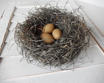 Rustic Bird Nest Handmade with Latte Eggs, Home Decor by Perch And Patina