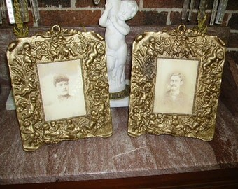 RESERVED FOR R.Antique Victorian Cherubs Cast Iron Picture Frames Pair/Easel Stand Frames/