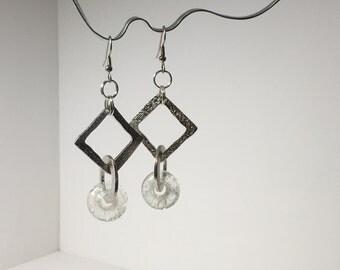 Wedding jewelry - Handmade Glass Charm Dangle Earrings - Matching Pendant - Gift for Her