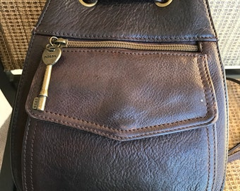 Fossil Brown Leather Backpack