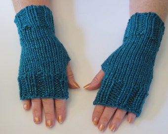 Hand Knit Fingerless Mittens/Texting Gloves- Jade Glitter Wrist Warmers- One Size Fits All