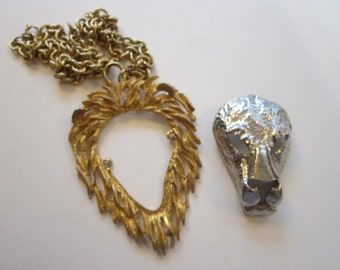 vintage LiON HEAD necklace - AS IS - zodiac, Leo, statement piece, two-tone lion head pendant - large lion's head pendant on chain