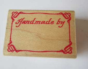 vintage rubber stamp - HANDMADE BY label stamp - 1987 Comotion stamps