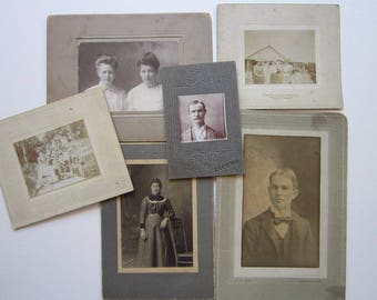 6 antique card photos - instant ancestors, rescued relatives - late 1800s, early 1900s