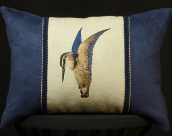 New Embroidered Kingfisher Accent Pillow New 12 x 16 Insert — Item 256