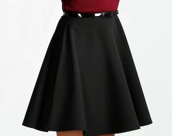 Polyester Circle Skirt - Above the Knee Length Circle Skirt - Many Color Choices - Skater Skirt