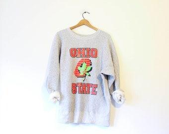 Vintage Gray Ohio State University Buckeyes Sweatshirt