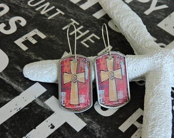 Cross Earrings, Decoupage Earrings, Boho, Bohemian, Decoupage, Rectangle Earrings, Stainless Steel