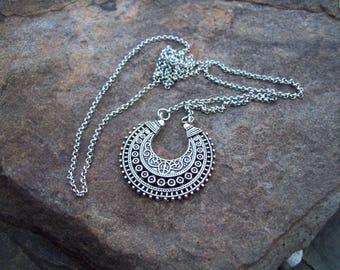 Crescent Pendant Necklace - chain necklace - silver boho bohemian pendant, tribal gypsy, ethnic necklace, pendant