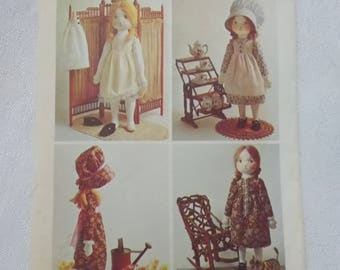 Holly Hobbie Doll Pattern, Simplicity 6006, Rag Doll Pattern, Prairie Doll Pattern, Holly Hobbie Doll and Clothes Pattern, Uncut