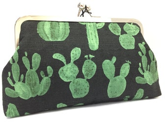 clutch purse - just a little prickly  - 8 inch metal frame clutch purse - large purse-  cactus- arrow - black- green - Japanese  kisslock
