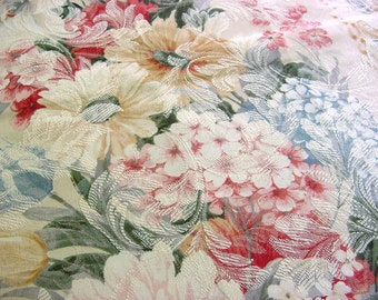 Gorgeous Vintage Floral Upholstry Decorator Fabric -Rose Hydrangea Peony Tulip Daisy Flower Romantic Victorian Cottage Chic Pink Blue Sage