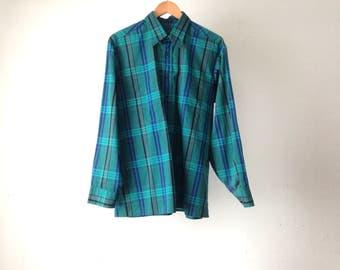 vintage TWIN PEAKS men's plaid 90s grunge size LARGE vintage button up down classic preppy shirt