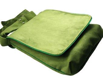 Lime Green Spring Bag with Flap, Green Power, OOAK Messenger Bag, Eco Suede Vegan Bag, Crossbody Bag, Flap Cover Bag, Adjustable Strap