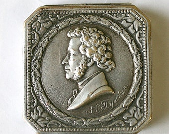 Vintage Rare Soviet Mirror Compact -Alexander Pushkin  - 1960s - from Russia / Soviet Union / USSR
