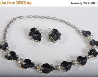 HALF PRICE SALE Vintage 1950s Black Thermoset Necklace - Aurora Borealis Earrings - Mad Men Fashions