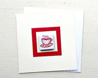 Birthday Card, Magnet Card, Greeting Card, Blank Card, Teacup, Cup of Tea