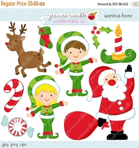ON SALE Santas Here Cute Digital Clipart - Commercial Use OK - Christmas Graphics, Christmas Clipart