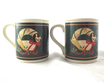 Canada Goose Country Christmas Mugs, Set of 2 Vintage Hallmark Card Mugs in Their Boxes (N2)