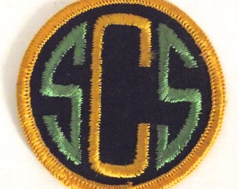 SCS Embroidered Patch, Monogrammed Vintage Patch in Green, Yellow and Black