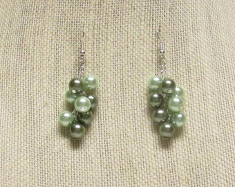 Dark Green and Light Green Glass Pearls Earrings