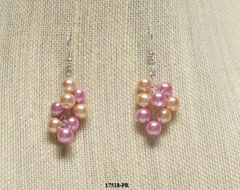 Peach and Rose Glass Pearl Earrings