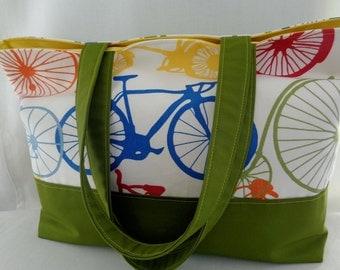 Extra Large Tote, Beach BAG, Pool BAG, Diaper BAG, Knitting Bag, Shopping Bag, Work Purse, Vintage Bicycles