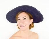 40s Wide Brim Hat | Navy Blue Woven Straw Summer Sun Hat