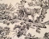 Black and Ivory White Toile Fabric Goats Sheep Countryside