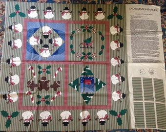 Snowman Sampler Quilt Wallhanging Christmas Holly Sleigh Snow Folk