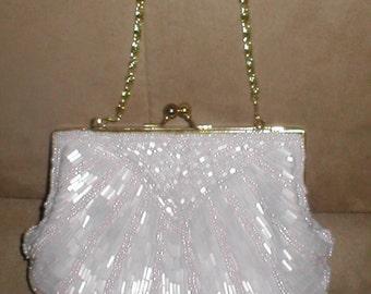 Vintage PALE PINK Beaded Evening Bag Purse