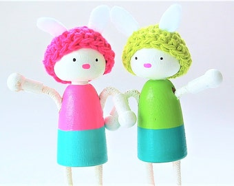 Woodland Bunny Dolls - Easter Bunny- Bendable Arms and Legs -Unique Gift - Waldorf Style Easter Basket