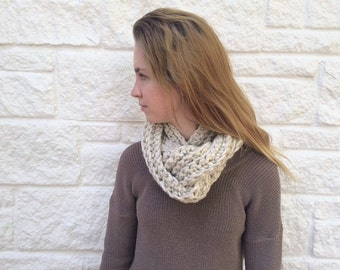 Hand Crocheted Infinity Scarf in Gorgeous Wheat - Ready To Ship