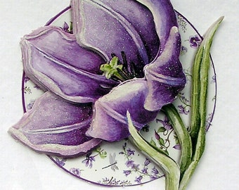 Purple Flower Hand Crafted 3D Decoupage Card, Blank for any Occasion (2027), Birthday Card, Layered Card, Spring, Flower Card, Get Well Card