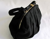 Vintage 1940s Black Wool MM Handbag, Coin Purse and Mirrors