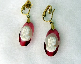 Vintage 1960s Acrylic Cameo Drop Earrings Rose Colored Edging