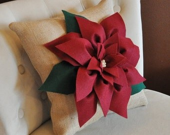 SALE 16 x16 Cranberry Red Poinsettia Flower on Burlap Pillow Accent Pillow Throw Pillow Toss Pillow