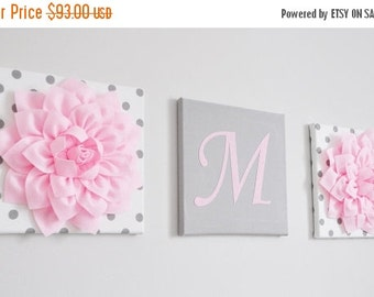 SALE Nursery Initial Decor, Light Pink and Grey Nursery Letters, Wall Hanging Letter and Flower Set, Baby Girl Decor, Personalized Home Deco