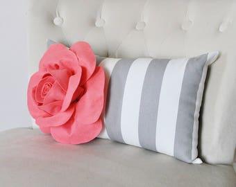 Gray Striped Pillow Lumbar Pillow Coral Flower Pillow Cover, Baby Nursery Pillow Cover Girl Pillow Stripe Pillow Zipper Cover, Rose Pillow