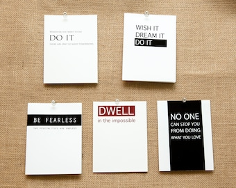 5, 10, or 20 Pack Encouragement Cards Inspirational Dwell in the Impossible Be Fearless Do it No One can Stop You from Doing what you love